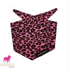 leuke knoopbandana hond leopard roze