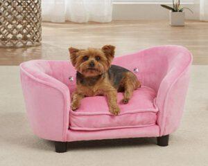 mooie roze hondenbank hondensofa