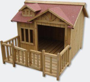 hondenhok luxe met veranda en dak terras